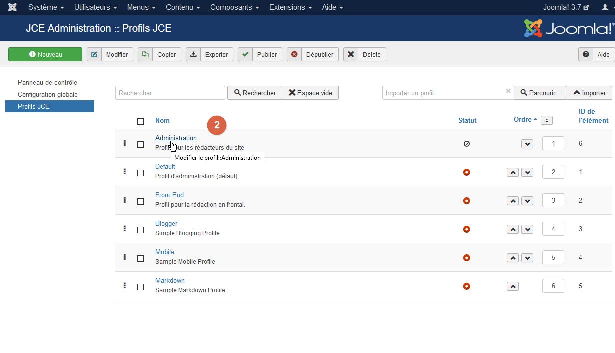 Modifier un profil JCE