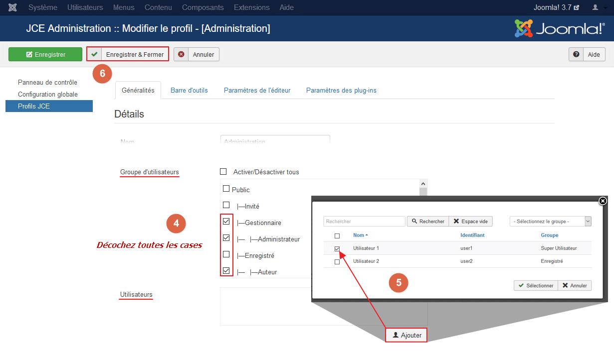 Attribuer le profil à un utilisateur
