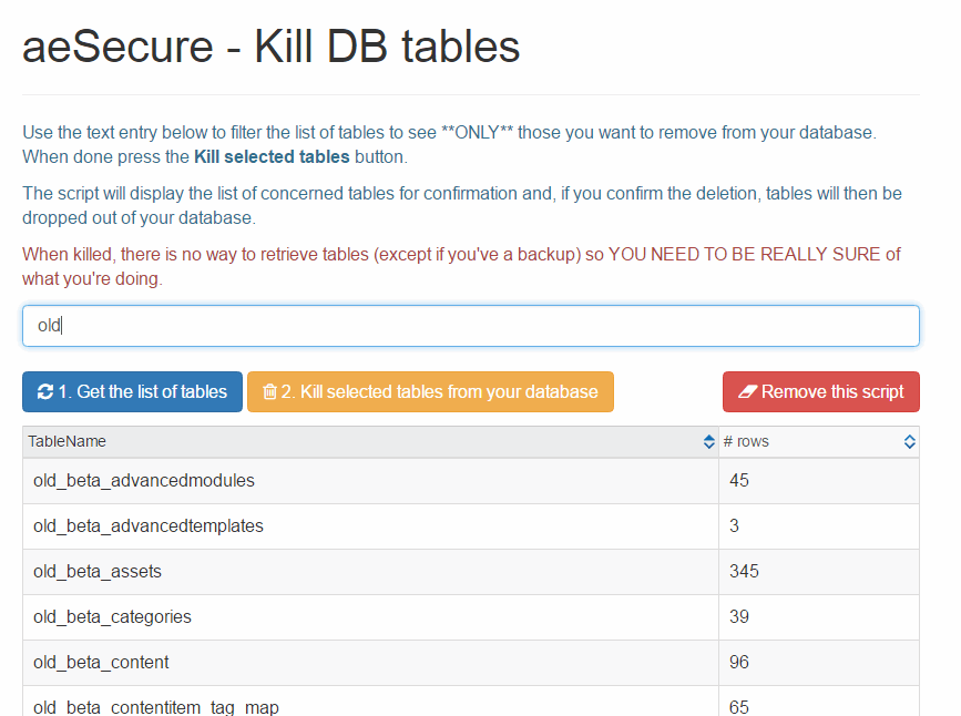 kill_db_tables